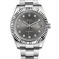 Ρολεξ (Rolex) DATEJUST II DARK RHODIUM 10 DIAMONDS DIAL