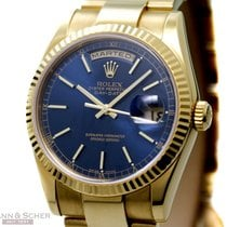 Rolex Day-Date Ref-118238 18k Yellow Gold Blue Stick Dial...