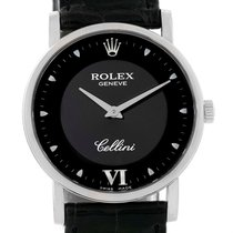 Rolex Cellini Classic 18k White Gold Black Dial Watch 5115