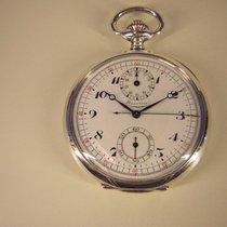 Minerva Schöne Taschenuhr Chronograph in Silber.