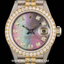 Rolex 18k Tridor Black Mother Of Pearl Diamond Dial Datejust...