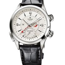 Tudor 79620T-Black alligator strap Heritage Advisor in Steel -...