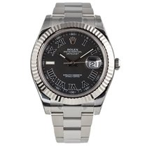 Rolex DATEJUST II 41mm 18K White Gold Bezel Black Roman Dial