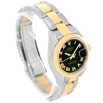 Rolex Datejust Ladies Steel 18k Yellow Gold Black Sunbeam...