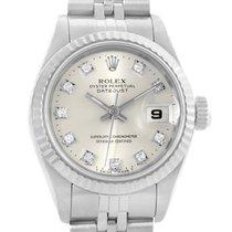 Rolex Datejust Ladies Steel White Gold Silver Diamond Dial...