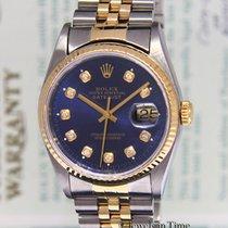 Rolex Datejust 18k Yellow Gold/Steel Blue Diamond Dial Watch...