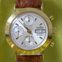 Roamer searock cronograph automatic day date 18 kt gold yellow