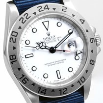 Rolex Mens SS 40mm Explorer ll White Dial True Blue NATO - 16570