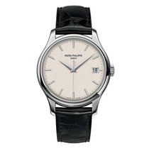 Patek Philippe Calatrava 39mm White Gold Watch Black Leather...