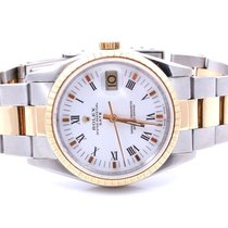 Rolex Mens 18K/SS Date -White Roman Dial - Oyster Band -...