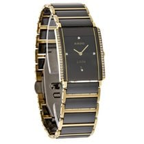 Rado Integral Ladies Diamond Black Ceramic Gold Swiss Watch...