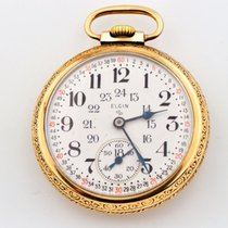 Elgin 24 Hour Dial Gold Filled Train Engraving Pocket Watch...