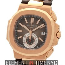 Patek Philippe Nautilus Chronograph 18k Rose Gold Black-Brown...