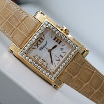 Chopard HAPPY SPORT II SQUARE XL 18K YELLOW GOLD FACTORY DIAMOND