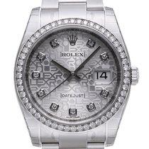 Rolex Datejust 36 Edelstahl Weißgold Diamant 116244 Silber J DIA