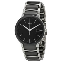"Rado ""Centrix Black Dial Stainless Steel and Black Ceramic..."