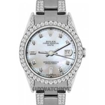 Rolex Date Ladies's 34mm White Mother Of Pearl Dial...
