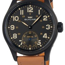Glycine KMU 48 Kriegs Marine Uhren Manual Wind PVD Mens Watch...