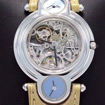 DeLaneau Skeleton Watch Triple Time Zones 18k White Gold Very...