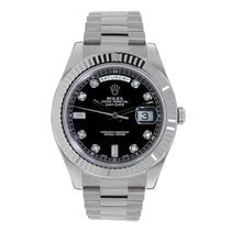 Rolex DAY-DATE II 41mm 18K White Gold Black Diamond Dial Box/Pap