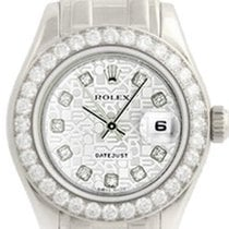 Rolex Ladies Silver Jubilee Diamond Pearlmaster 18k White Gold...