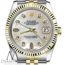 Rolex White Pearl Face Rolex 18k 2t 26mm Datejust Mop Mother...