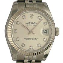 Rolex Datejust Medium Stahl Weißgold Diamond Automatik Armband...