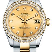 Rolex New Style Datejust Midsize Two Tone Custom Diamond Bezel...