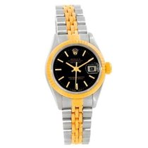 Rolex Datejust Womens Steel 18k Yellow Gold Black stick Dial