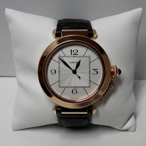 Cartier Pasha 18k rose gold white dial leather strap