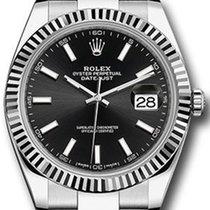 Rolex Datejust 41 126334 Black Index Fluted White Gold...