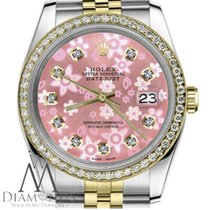 Rolex Womens Rolex 36mm Datejust 2 Tone Pink Flower Mother Of...