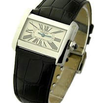 Cartier W6300255 Tank Divan Quartz in Steel - On Black Leather...