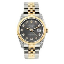 Rolex Date Unisex 34mm Gray Dial Gold And Stainless Steel...