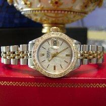Rolex Oyster Perpetual Date Diamond Bezel Yellow Gold Steel Watch