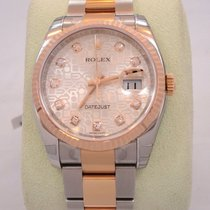 Rolex Datejust 36mm Oyster 18k Pink Gold Factory Diamond Dial