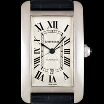 Cartier 18k White Gold Silver Dial Tank Americaine XL B&P