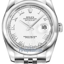 Rolex Datejust 36mm Stainless Steel 116200 White Roman Jubilee