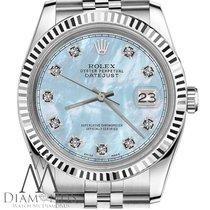 Rolex Men Rolex 36mm Datejust Baby Blue Mop Mother Of Pearl...