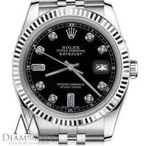 Rolex Classic Rolex 26mm Datejust Black Face W/ 6+9 Baguette...