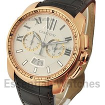 Cartier W7100044 Calibre de Cartier Chronograph - Rose Gold on...