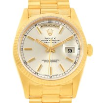 Rolex President Day-date 18k Yellow Gold Silver Dial Mens...
