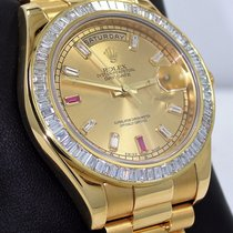 Rolex Day-date II President 218238 18k Y Gold 4.5ct Baguettes...