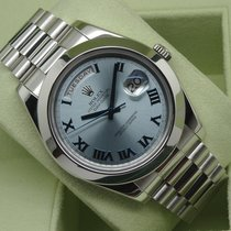 Rolex Day-Date II 218206 41mm Platinum Glacier Roman Dial...