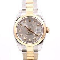 Rolex Ladies 18K/SS Datejust - Factory Silver Diamond Dial -...