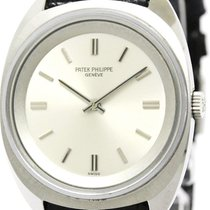 Patek Philippe Polished  Calatrava Steel Leather Hand Winding...