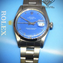 Rolex Date Stainless Steel Blue Dial Mens Automatic Watch 1500