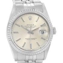 Rolex Datejust Silver Dial Steel White Gold Automatic Watch 16234