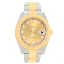 Rolex Datejust Ii Steel Yellow Gold Champagne Diamond Watch...