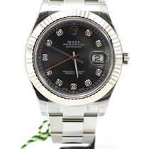 Rolex Datejust II Steel and White Gold Rhodium 10 diamonds dial